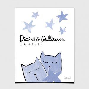 Print Babies Kittens Blue View